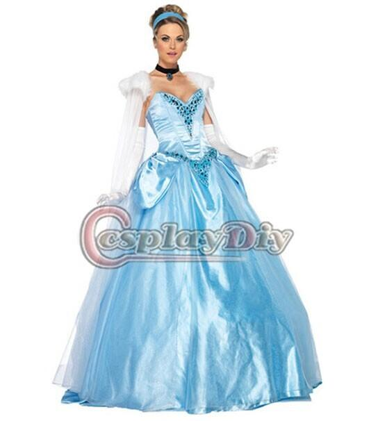 Custom-made Pretty Blue Satin Floor-length Princess Cinderella ...