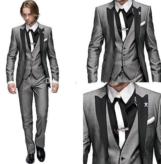 Custom Made Groom Tuxedos Light Grey Peak Black Lapel Best Man ...