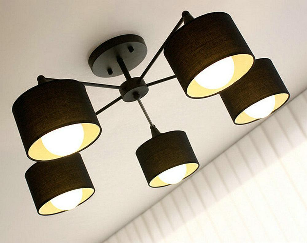 Online Cheap Modern Ceiling Lights Fixture Semi Flush Mount Type Black White Colors Cloth Shade
