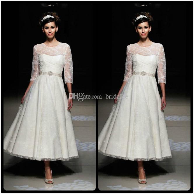 Discount simple 2016 white tea length wedding dresses with for Simple tea length wedding dresses