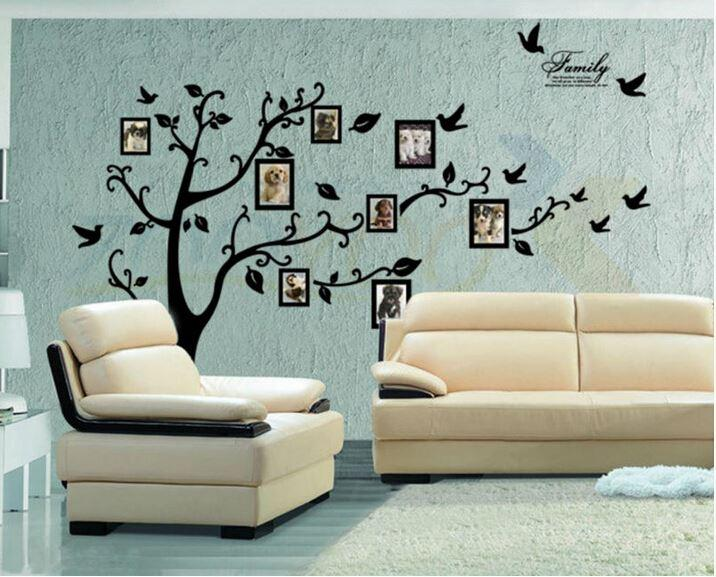 Large black 3d diy photo frame tree pvc wall decals family for Diy photographic mural
