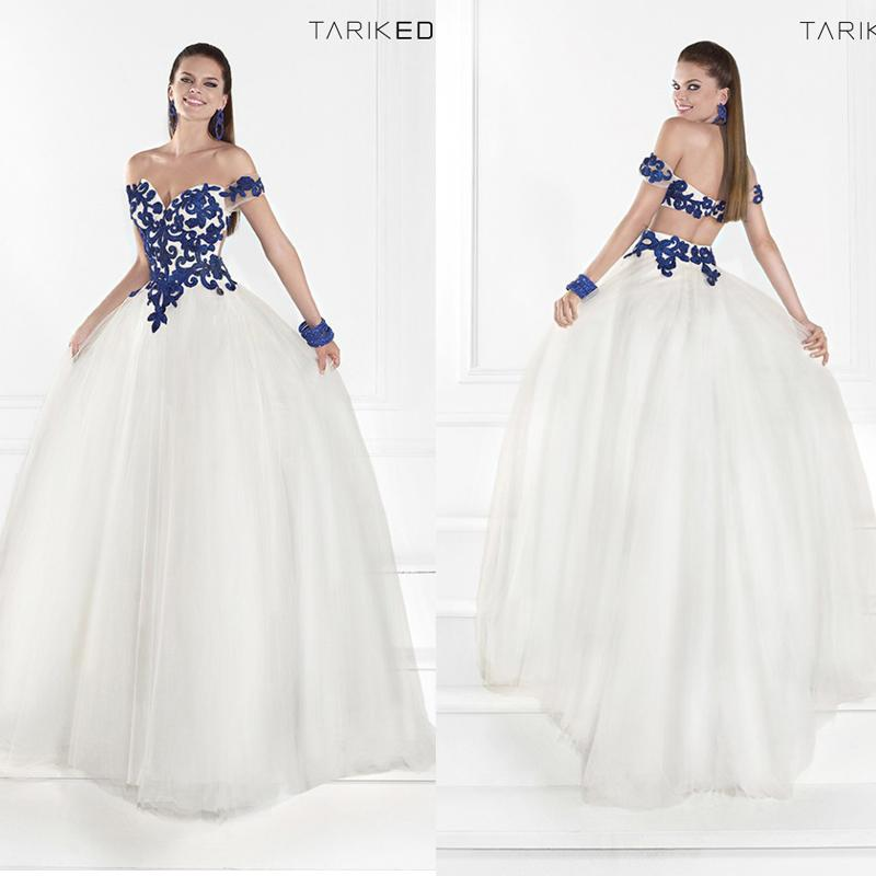 Blue and white prom dress - Dress on sale
