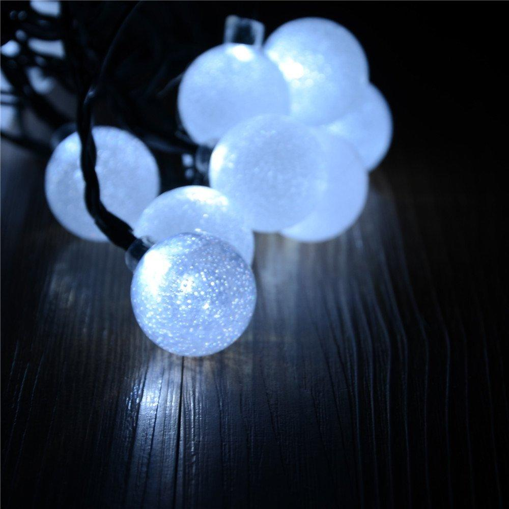 String Lights Cover Photo : Solar Powered 30 Led String Light With Crystal Ball Covers White For Outdoor String Lights Patio ...