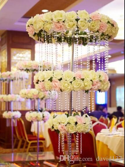 New tall elegant crystal flower stand wedding