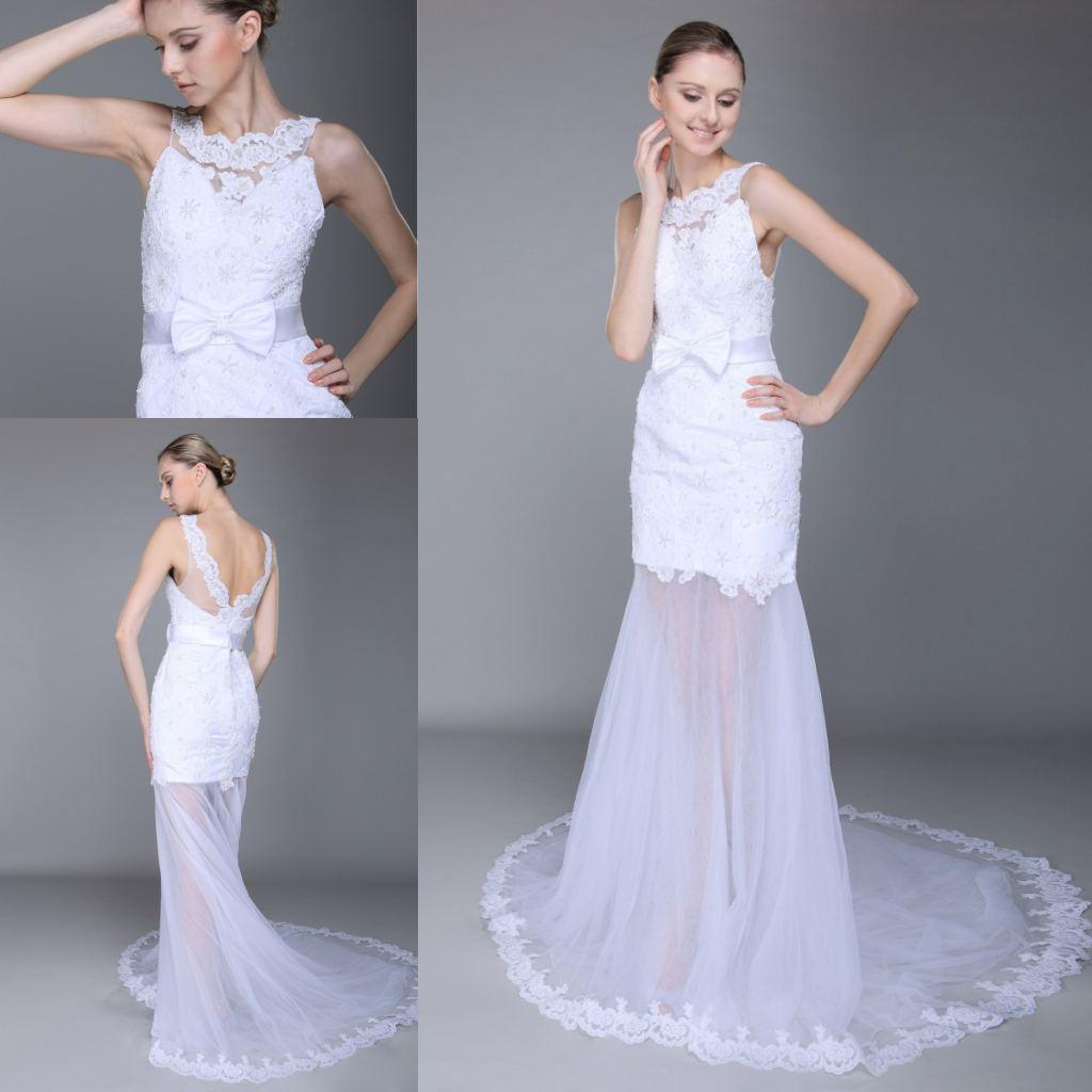 Charming 2014 Lace Wedding Dresses Crew Sheath Sweep Train