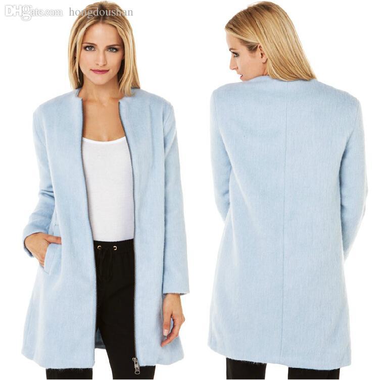 Discount Light Blue Wool Coat Women   2017 Light Blue Wool Coat