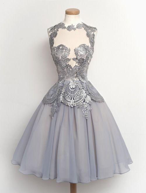 Discount Silver Grey Lace Cocktail Dress | 2017 Silver Grey Lace ...