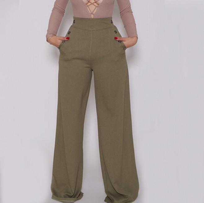 Women Wide Leg Pants 2016 Hot Spring High Waist Long Pant Trousers ...