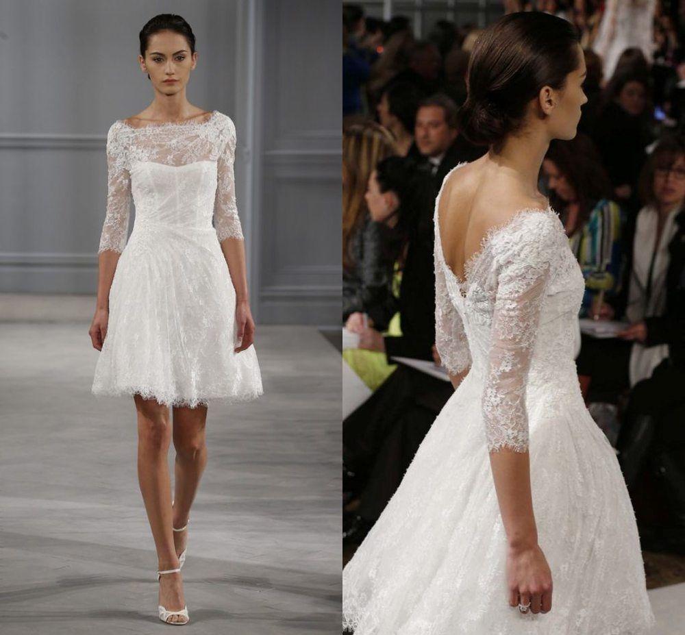 backless off the shoulder lace short wedding dress