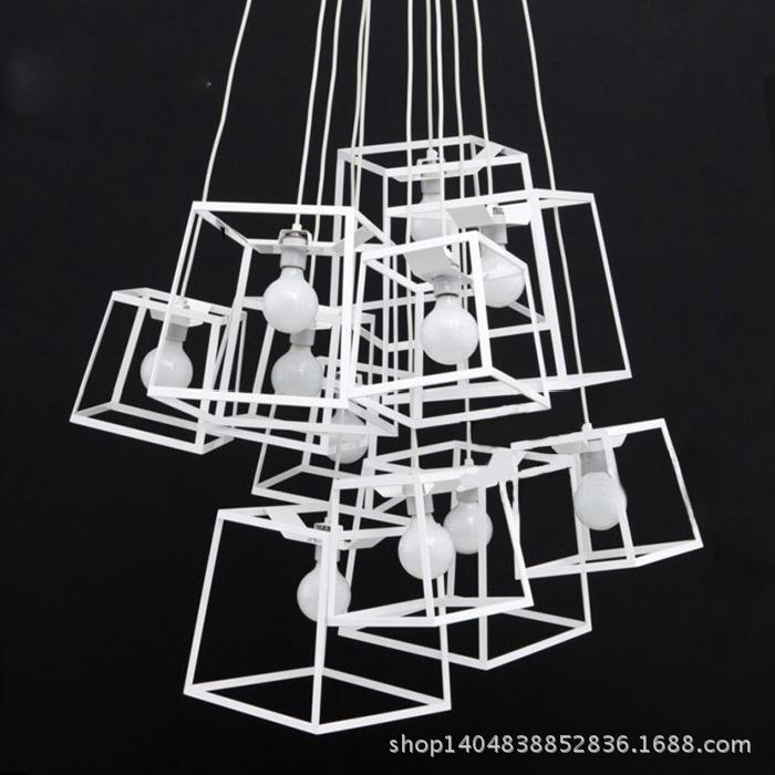 creative quality decorative square cage chandelier cafe restaurant staircase chandelier lamp amoy studio window ceiling pendants modern pendant light - Decorative Chandelier