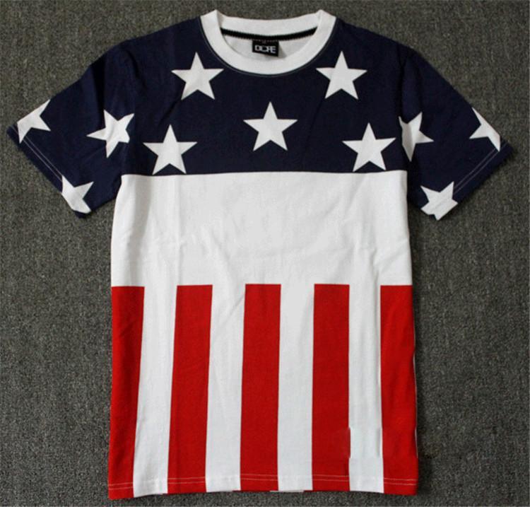 Men hip hop fashion american flag t shirt usa swag style for T shirt design usa