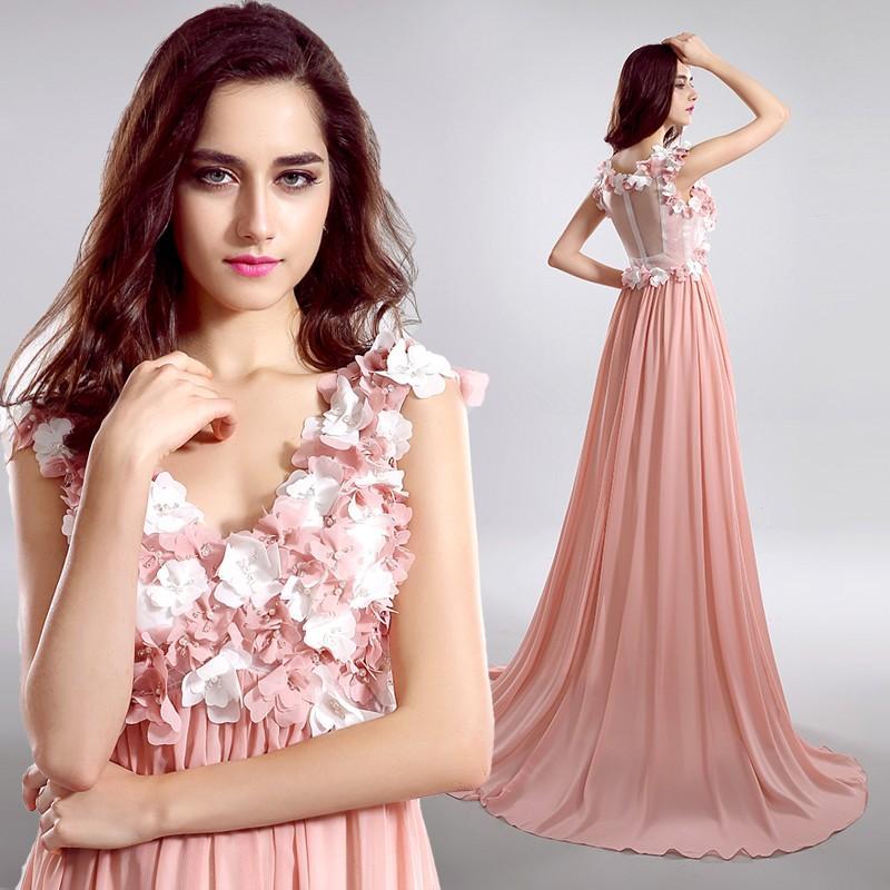 New Flowers Prom Dresses Korean Dress 2015 Back Hollow Empire V ...