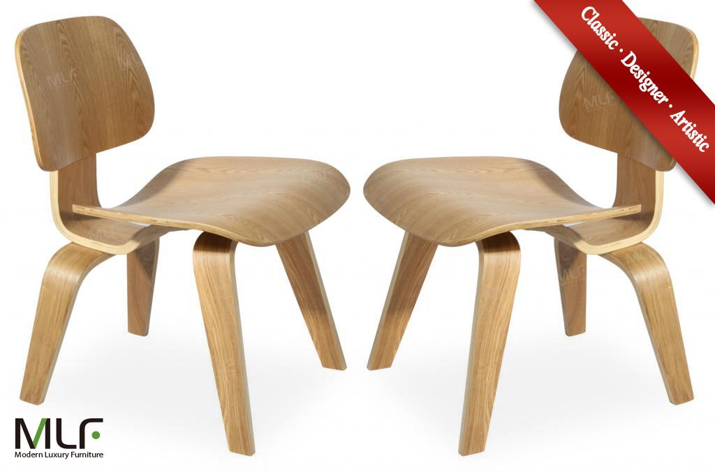 MLF Eames Molded Plywood Lounge Chair, 11-ply Durable Hardwood Seat & Back,