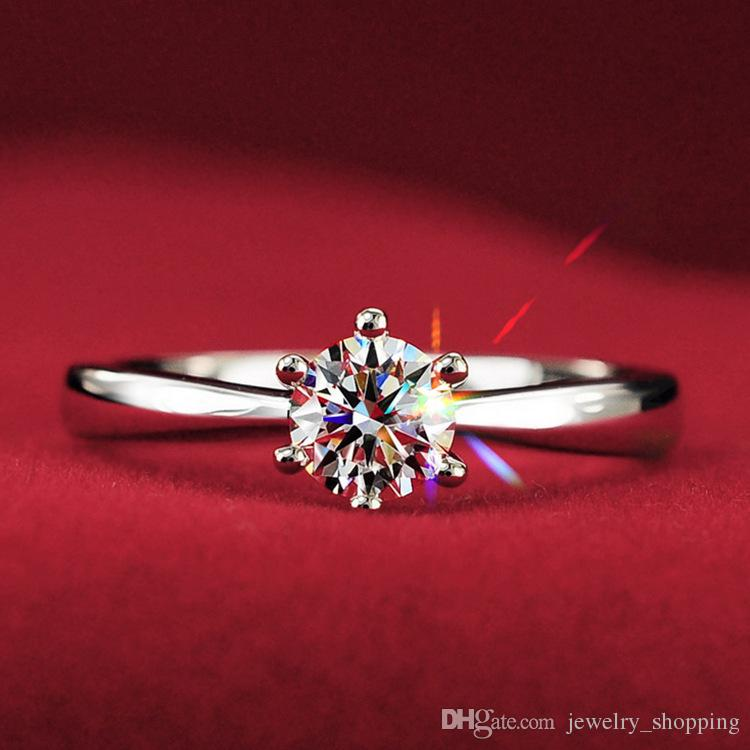 Hot Sale 1kt CZ Diamond Wedding Rings for Women 925 Sterling Silver Engagemen