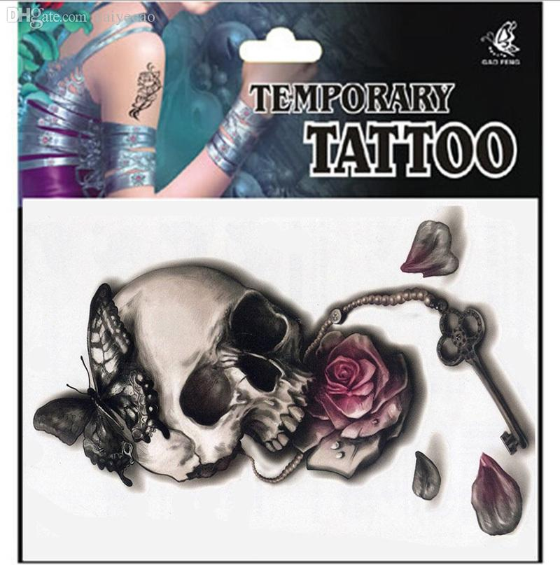 Wholesale punk sexy temporary tattoos skull rose flower for Fake neck tattoo