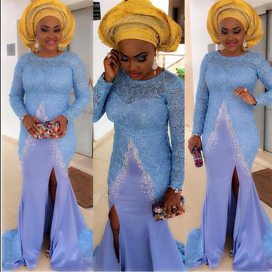 Bellanaija Wedding Aso Ebi Dresses 2016 Nigeria Lace Long Sleeve Mermaid Evening Pageant Prom