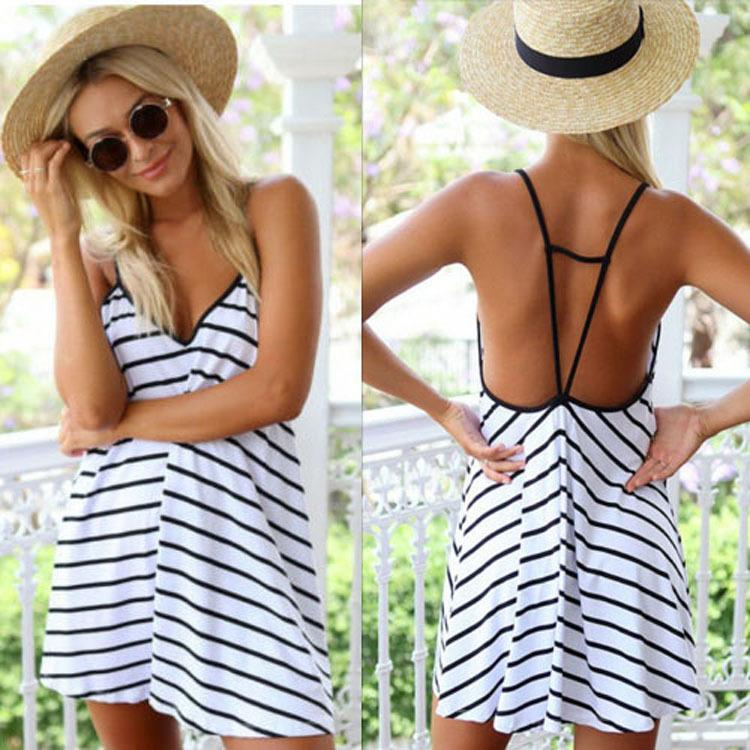 New Style Womens Backless Dresses Casual Elegant Slim V Neck ...