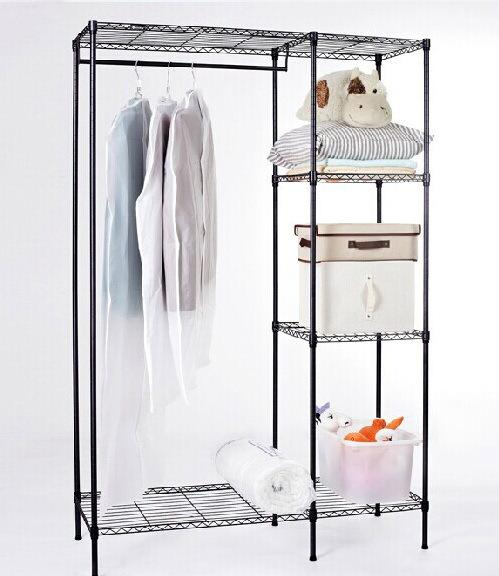 Adjustable Closet Steel Wardrobe Rack Shelf With Cloth Hanger Rack Wardrobe Shelf  Rack Online With $63.5/Set On Joseph9806u0027s Store | DHgate.com