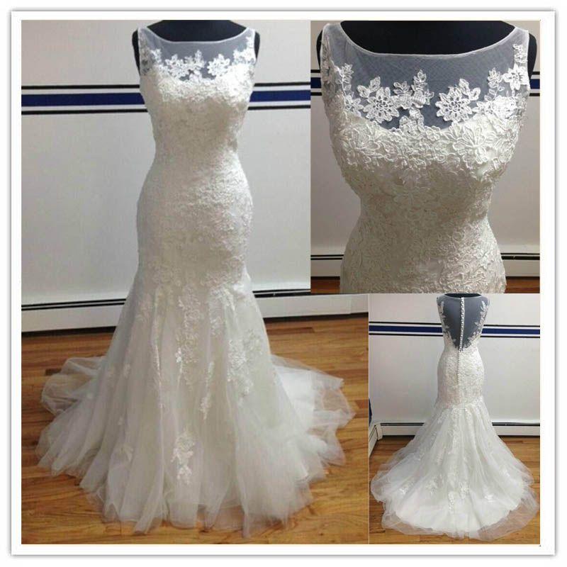 2015 vintage white lace mermaid wedding dresses bridal for Winter mermaid wedding dresses