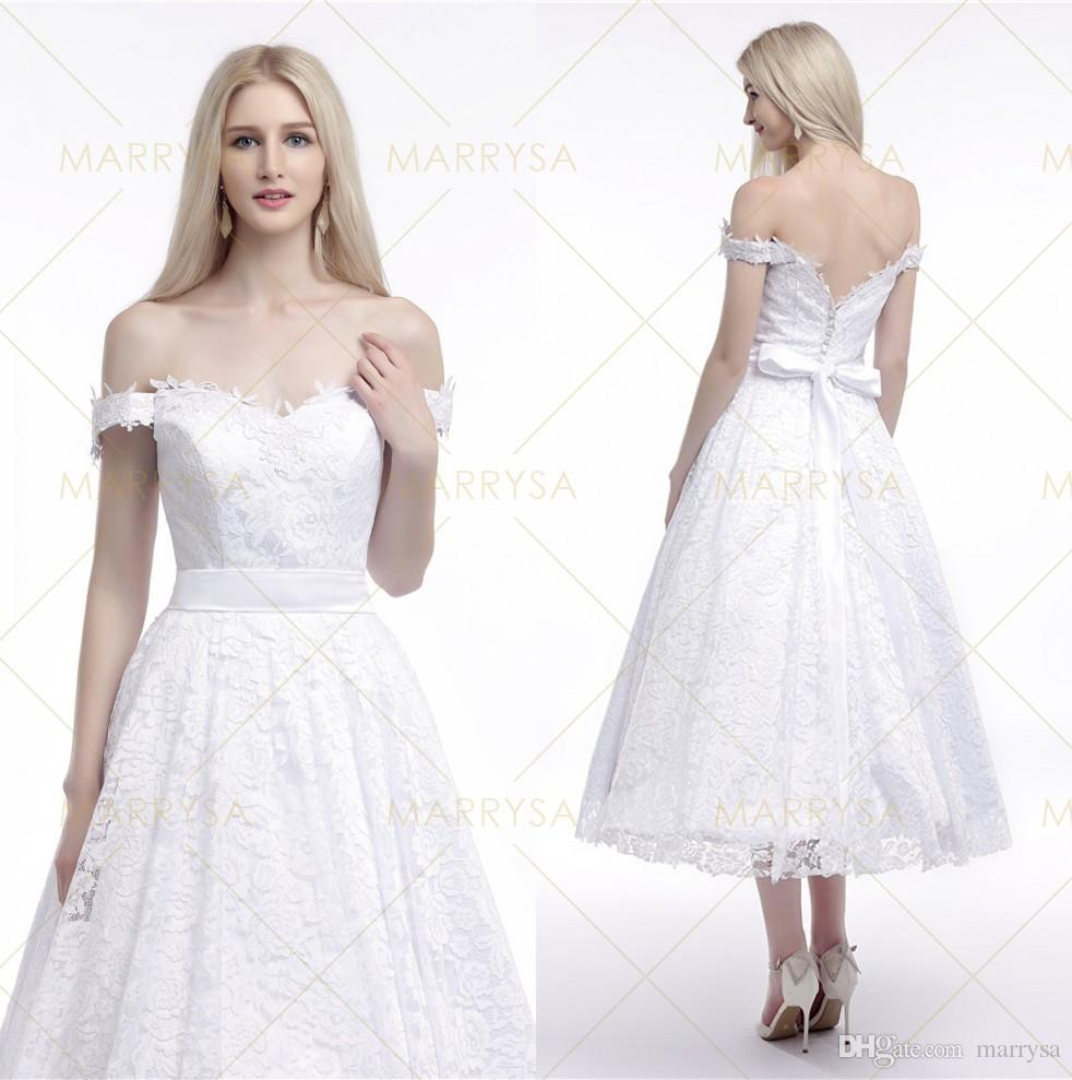 Off shoulder tea length wedding gowns 2015 white lace for One shoulder tea length wedding dress