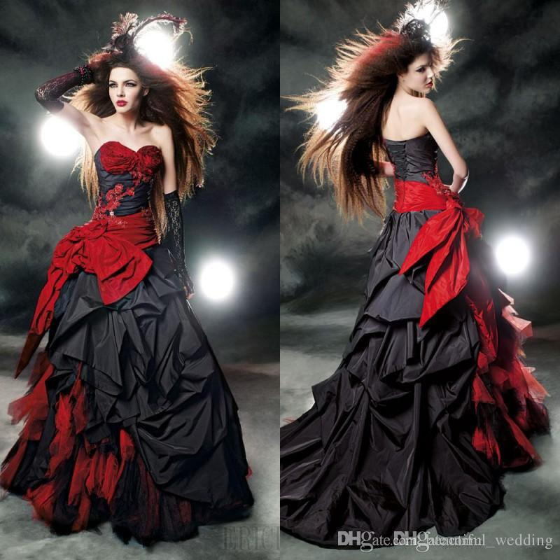 Vintage 2015 ball gowns lace appliques gothic wedding for Red and black wedding dresses for sale