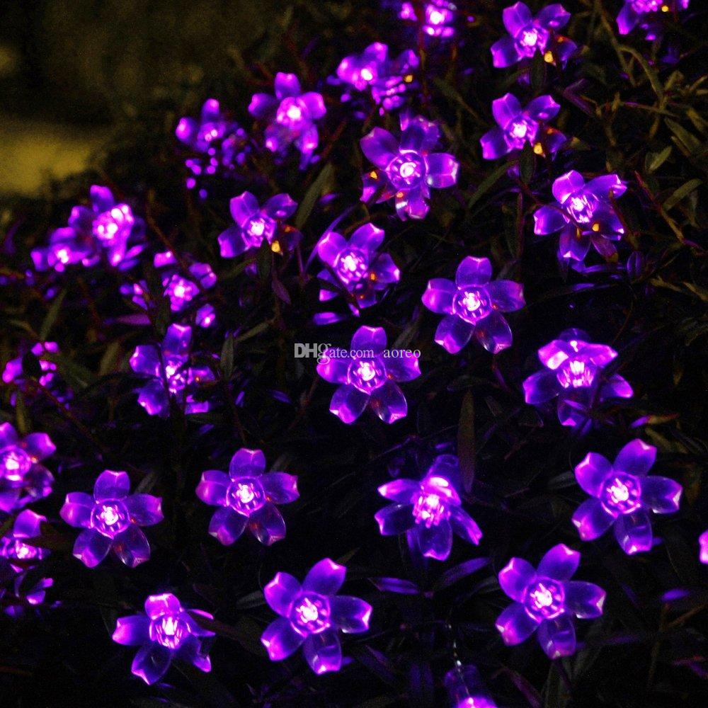 Solar Flower String Lights Outdoor Fairy 50 Led Blossom Lighting