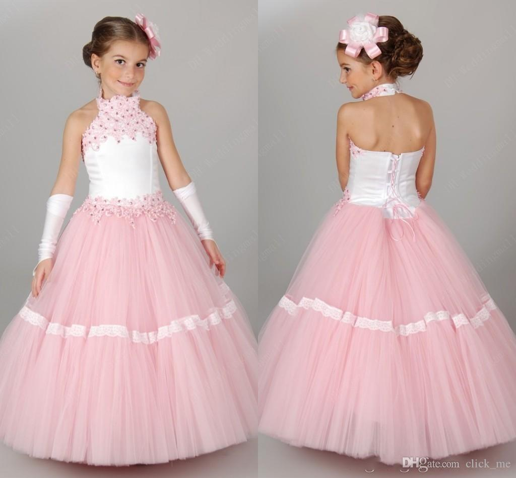 Kids Pageant Gowns For Girls Halter Sequins Beads Girls Birthday ...