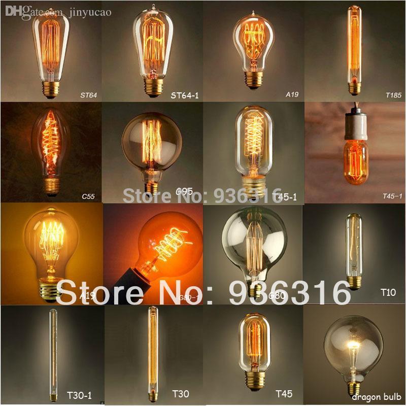 Large Filament Light Bulb: Wholesale-Free shipping E27 40w 16 types Edison retro personality large  clear light bulb filament Dragonball oversized transparent bulb,Lighting