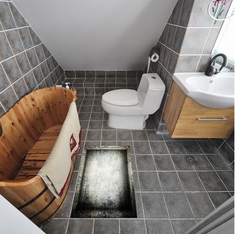 3d Pit Non Slip Waterproof Bathroom Floor Affixed Creative Ground Sticker Bedroom Wear Resistant