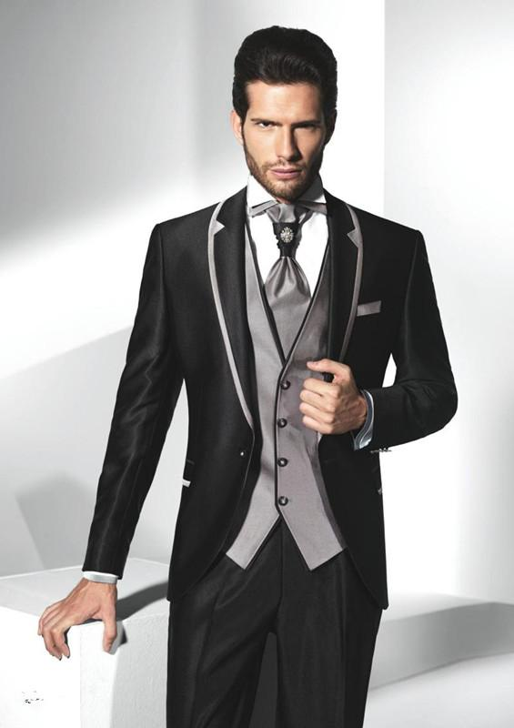 Black Jacket With Grey Collar Handsome Groom Tuxedos Slim Fit
