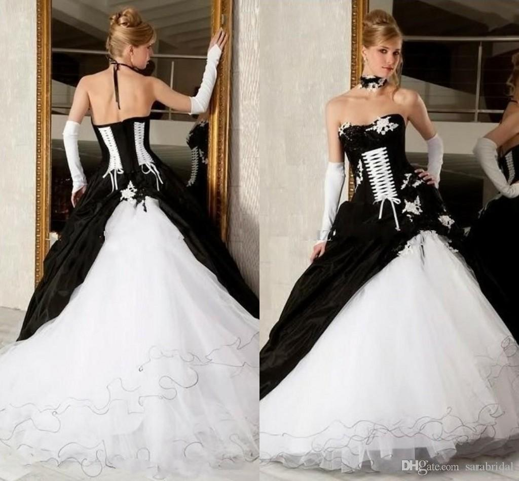 2016 Cheap Black And White Ball Gown Wedding Dresses