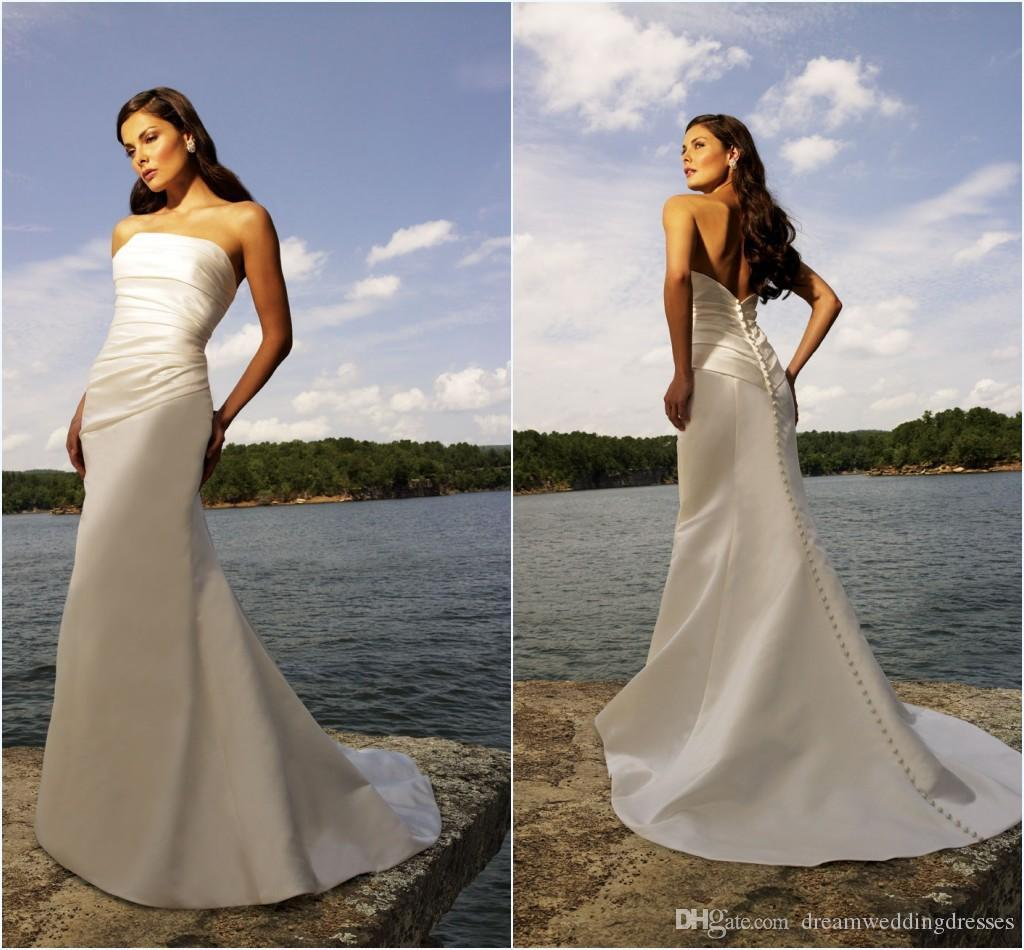 Discount sexy corset bridal gowns simple sleeveless a line for Simple corset wedding dresses