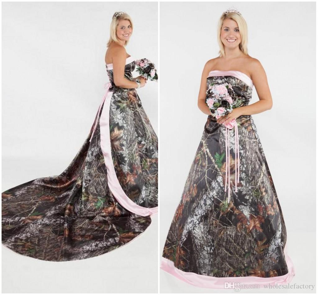 Vintage Camo Wedding Dresses 2017 Strapless Western Country Forest ...