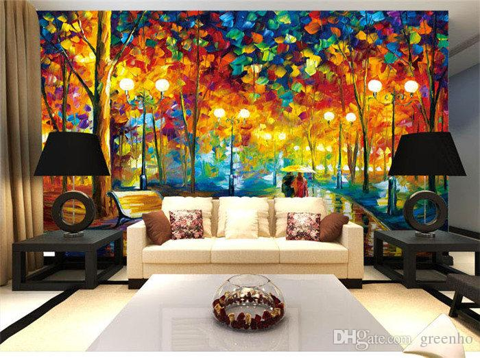 Personalized 3d custom street view knife painting photo for Unusual wallpaper for living room