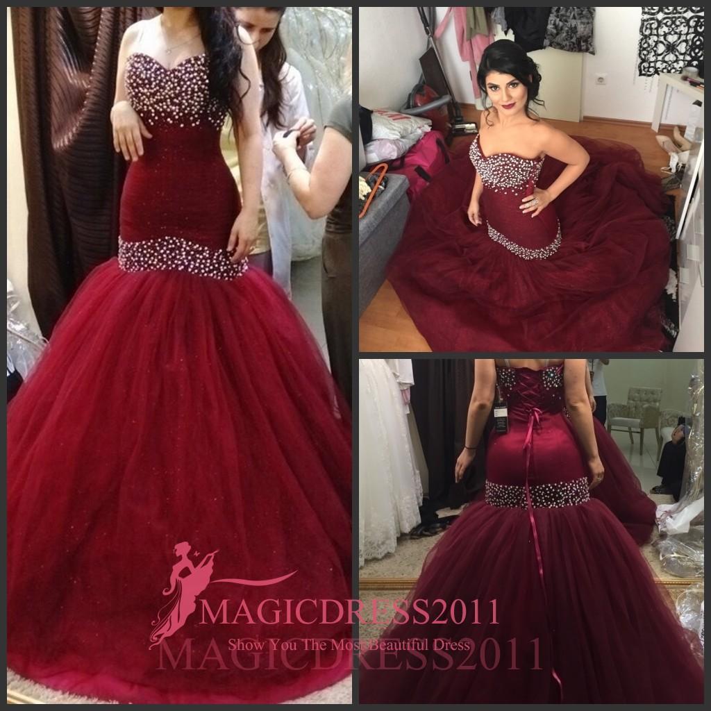 Sparkly Burgundy Evening Dresses Backless Formal Prom