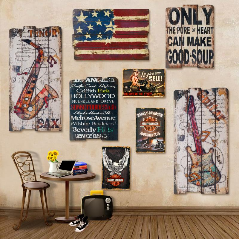 american retro bar cafe decorative wood painting retro living room wall mural decoration factory outlets online with 4461piece on zhoudan5242s store - Painted Wood Cafe Decoration