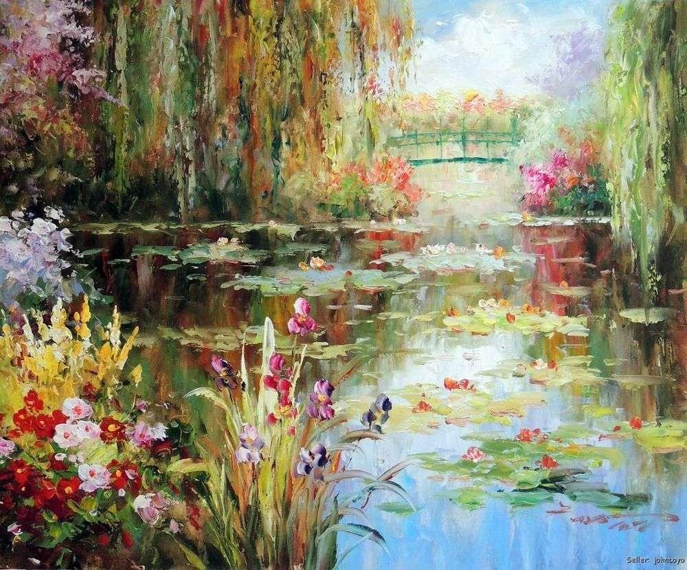Pond weeping willow tree iris flowers bridge 20x24 oil on canvas pond weeping willow tree iris flowers bridge 20x24 oil on canvas painting gt1 painting acrylic on canva painting flowers with oil painting with acrylics dhlflorist Image collections