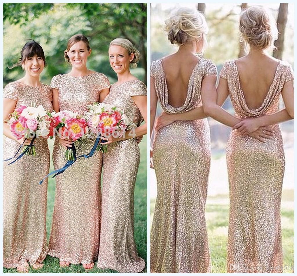 2015 Gold Sequin Bridesmaid Dress Long Rose Maid Honor