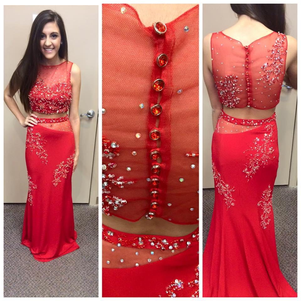 2015 Designer Crop Top Prom Dresses Sheath Beading Red Chiffon Sexy Pageant  Gowns with Crew Neck. New Designer Crop Top