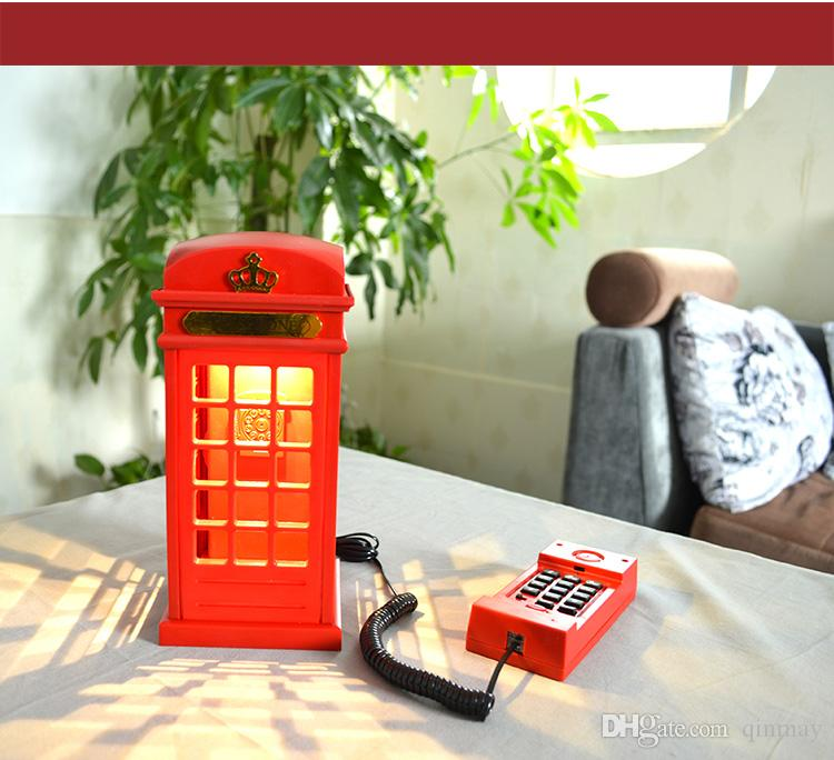 novelty gifts home decor red telephone box cordphone universal corded telephone set with rechargeable led night