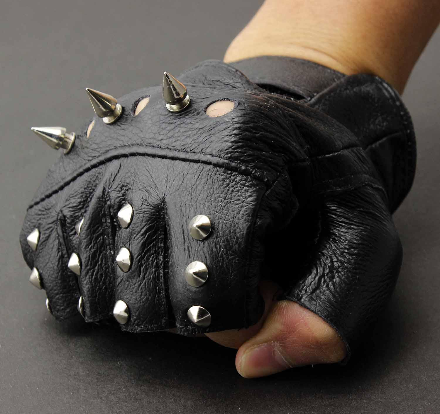 Buy leather motorcycle gloves - Men S Leather Metal Stud Biker Punk Rocker Driving Motorcycle Fingerless Gloves