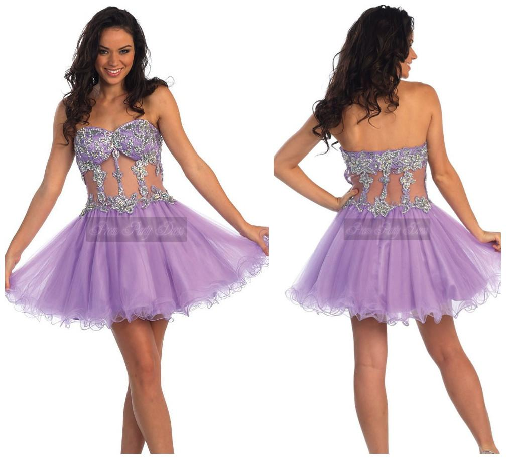 Transparent Short 8th Grade Prom Dress With Beads Light Purple ...