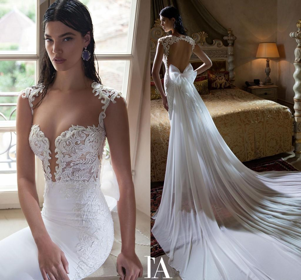 Plus Size Cap Sleeve Bow Wedding Dresses Trumpet Chiffon