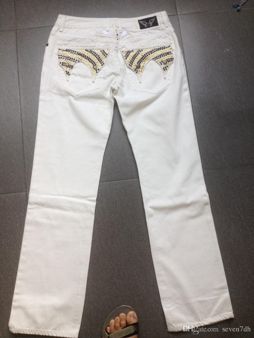 2017 2015 New Designer White Robin Jeans Men Denim Pants Washed ...