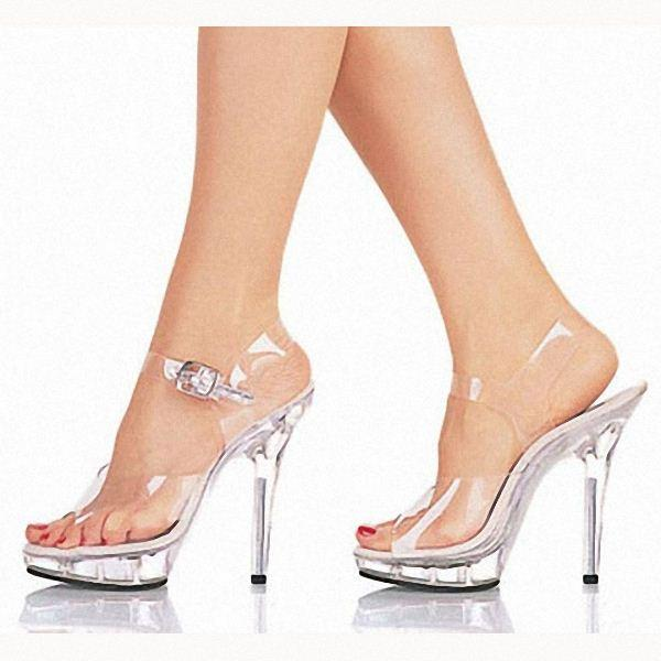 15cm High Heeled Shoes Lady Platform Crystal Sandals Low Price