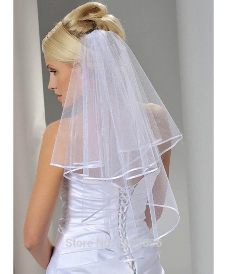 In Stock Cheap Tulle White Bridal Veils 2016 With Comb Elbow Length Two Layer Ribbon Edge