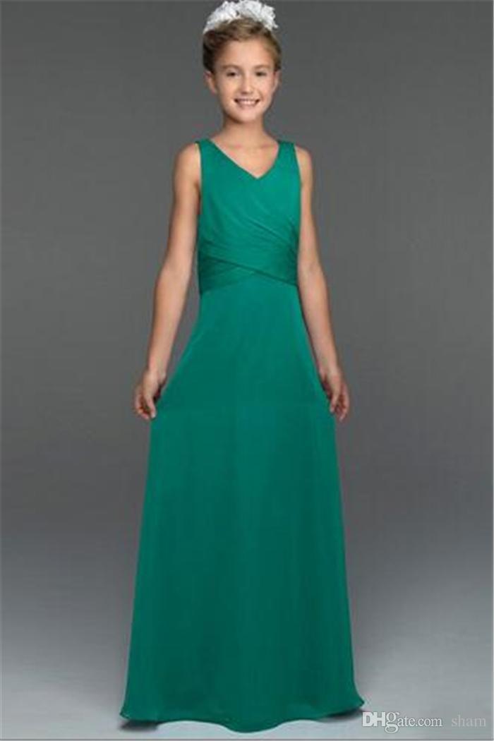 Green Girls Bridesmaid Dresses Junior Bridesmaid Dresses V Neck A ...
