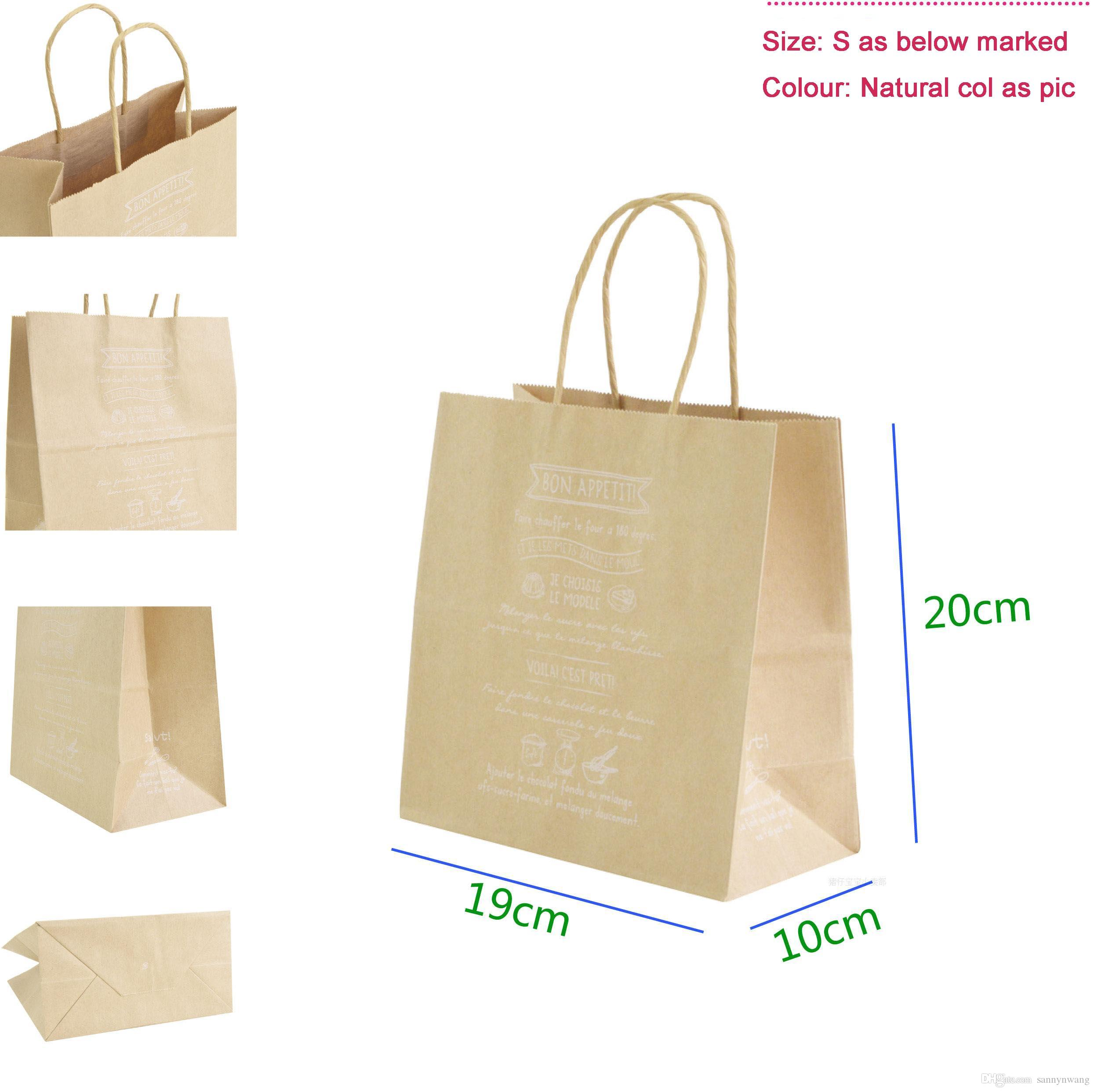 small Size 19x20x10cm Eco Friendly High Quality Kraft Paper Handle ...