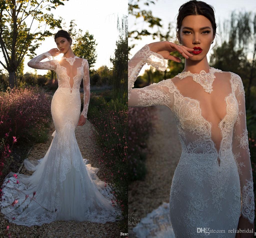 y Mermaid Lace Wedding Dresses 2015 Long Sleeve Berta