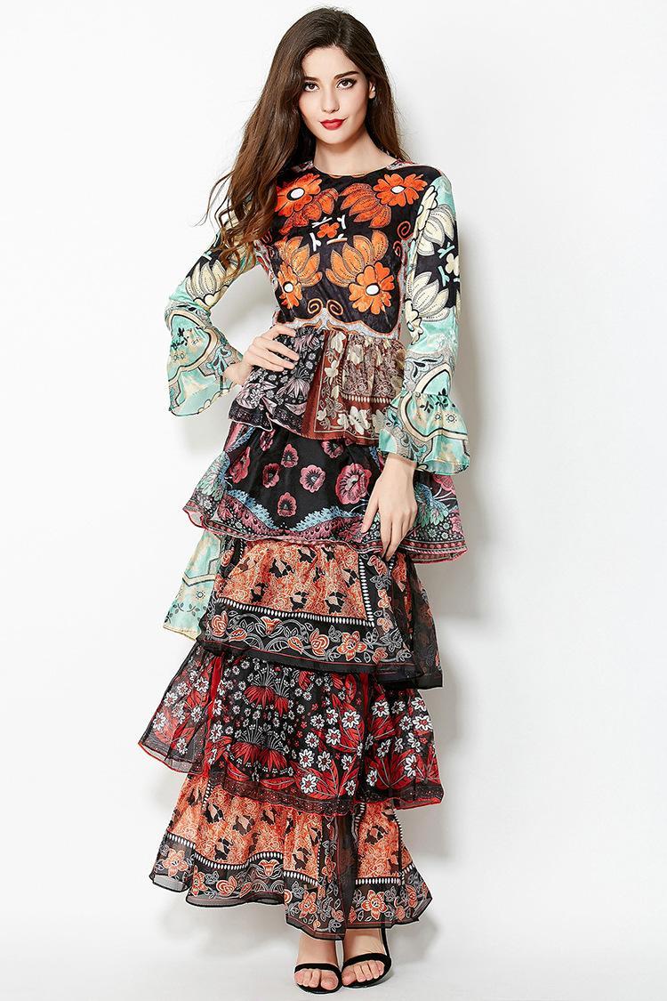 Long sleeve flare maxi dress